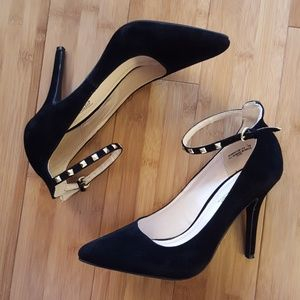 Black heel with studded ankle strap